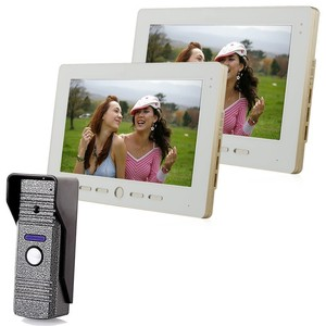 10 inch Color Screen Video Intercom Door Phone Set 2 Monitors 1 Waterproof Doorbell Camera