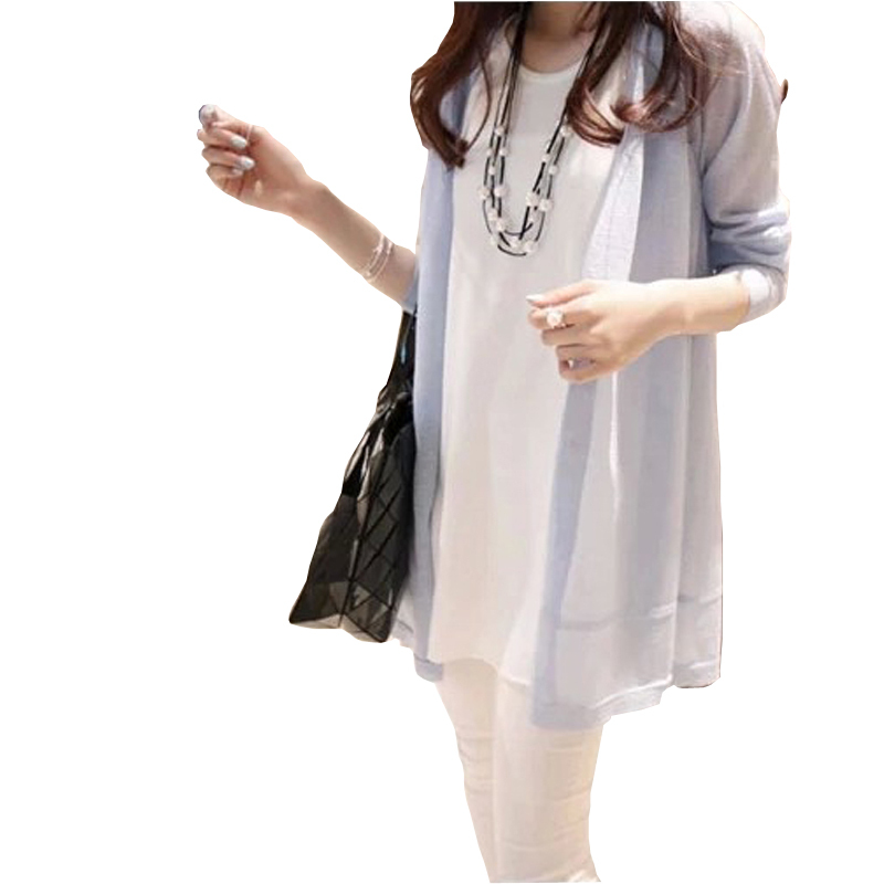 2015 Female Summer Shirt Linen Medium-Long Slim Cardigan Air Conditioning Sun Protection Transparent Free Shipping