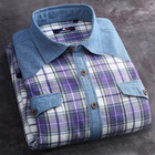 Bangladesh clothing cotton/polyester casual loose designs stitching flannel double pocket shirts for men