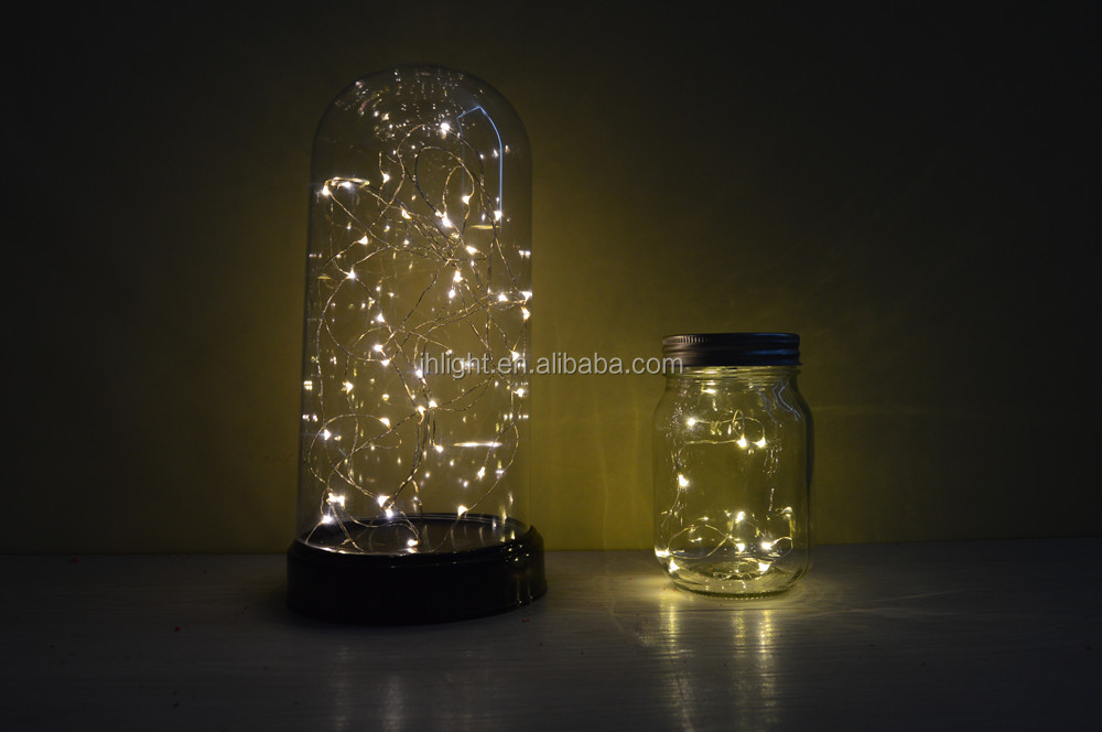 Battry Mason Jar Lamp with Hook, Led Light Up Sparkling Star for Glass Mason Jars and Garden Decor Battery Lights