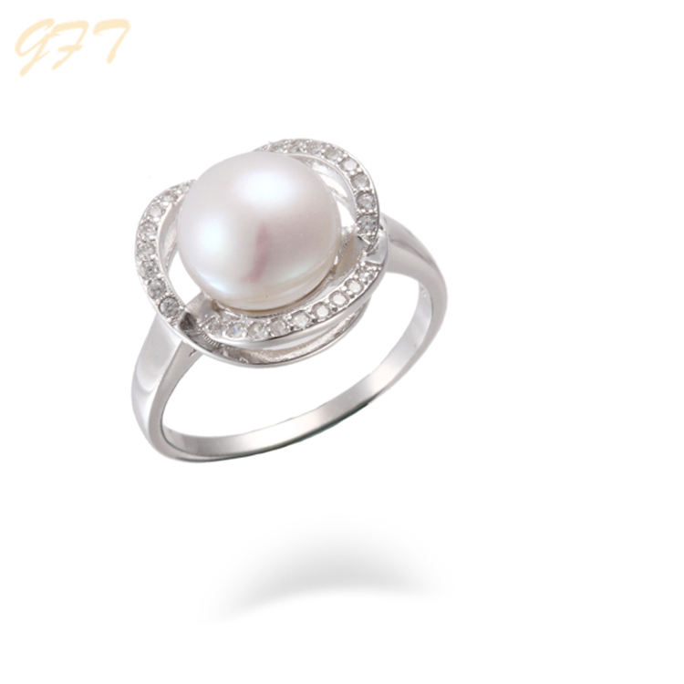 Fine Jewelry Amicable Cultured Pearl Genuine Diamonds 14k White Gold Ring