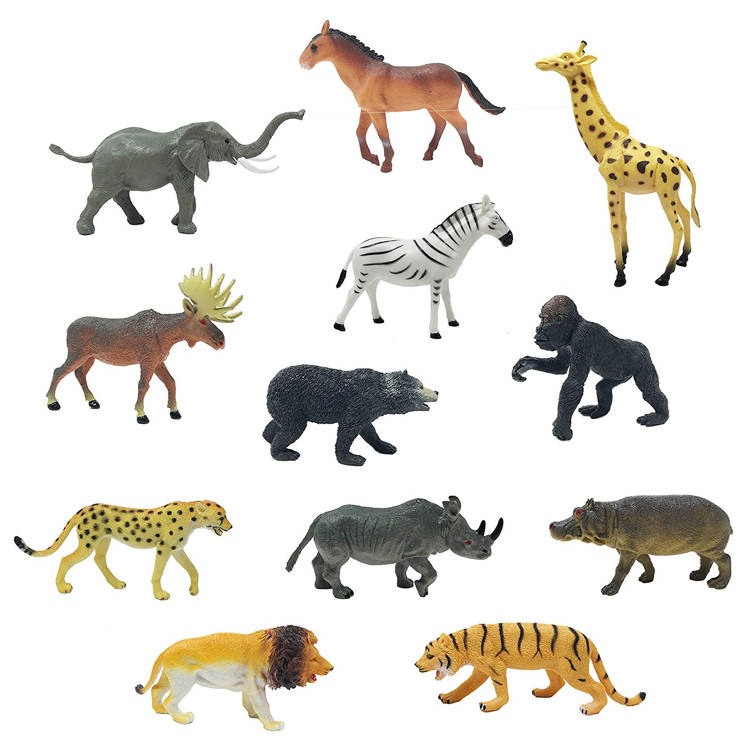0400c0fbd1 Boley (12PC Jumbo Safari Animals - Zoo Animals and Jungle Animals -  Includes Elephant