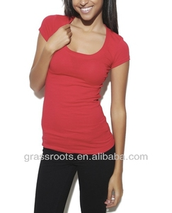 custom Womens RNeck Spandex Cotton Plain Color Tshirts Wholesale+Free Sample TX0004