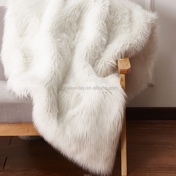 Deluxe Soft Faux Sheepskin Chair Cover Seat Pad Plain Shaggy Area Rugs For  Bedroom Sofa Floor