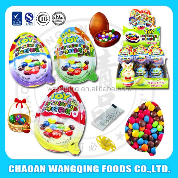 Easter egg shaped crispy multi-color chocolate beans with toy