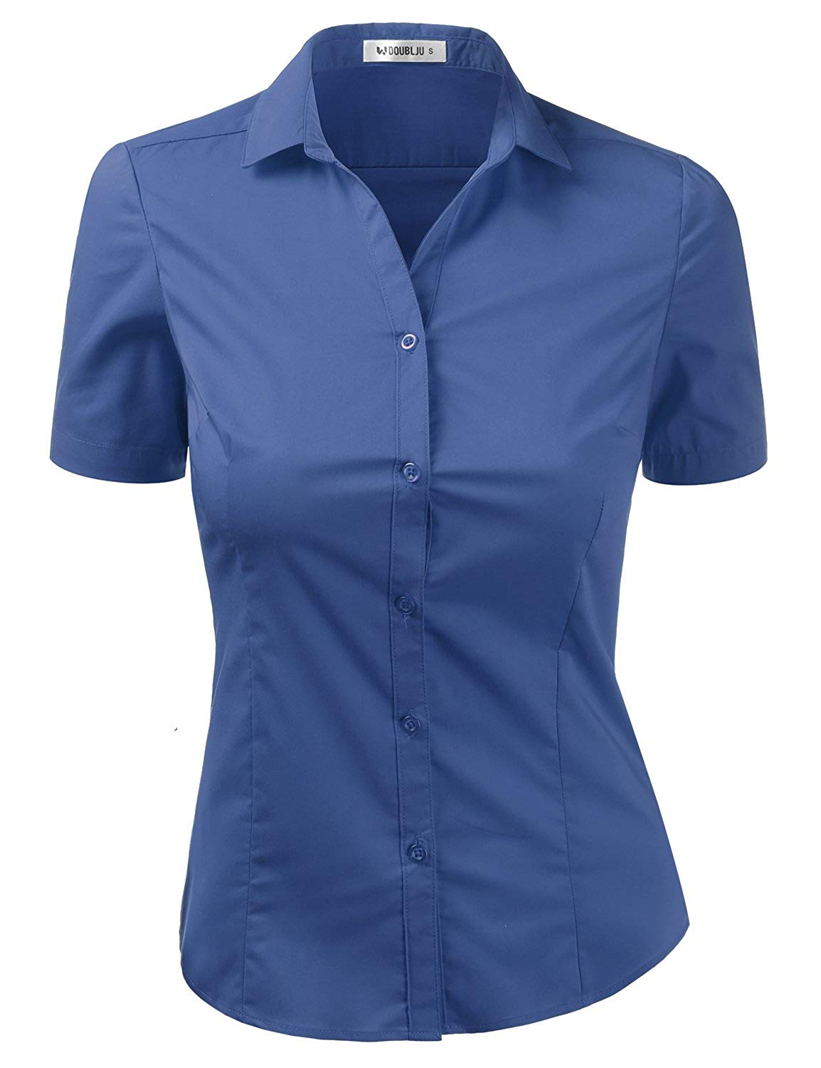 99f68d0c6cd Get Quotations · Doublju Womens Slim Fit Short Sleeve Cotton Spandex Button  Down Shirt with Plus Size