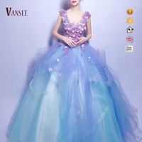sleeveless deep v neck wedding dress flowers rainbow colorful ball bouffant gown wedding
