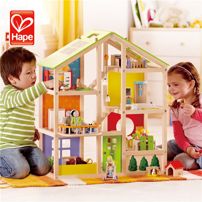 Hape brand High grade multi-function wooden role play hot sell doll house supplies