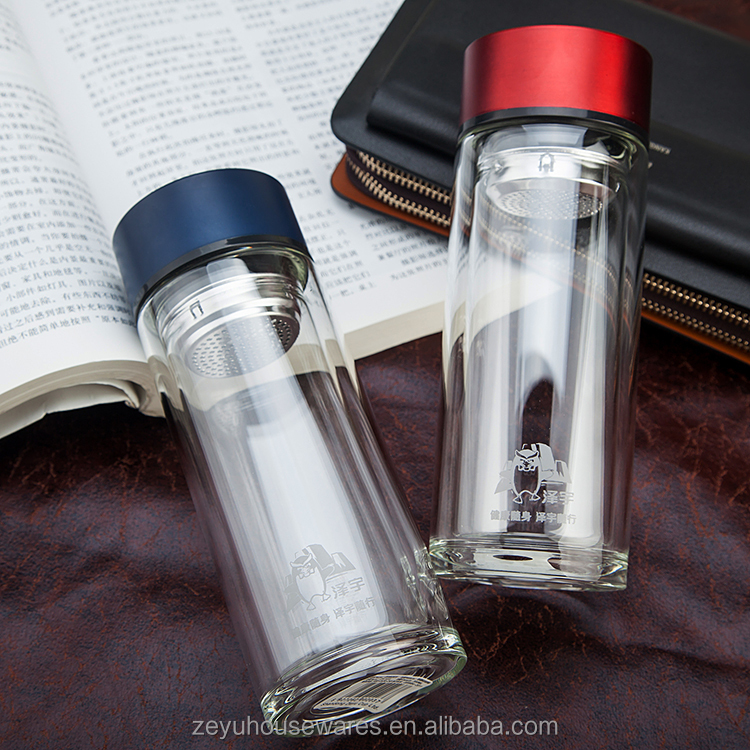High-grade Borosilicate Double Layer Portable Business Ideas Glass Filter Office Cup Water Bottles Double Glass Tea Cup