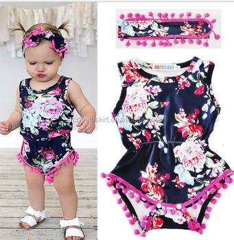 2017 flower romper cute boutique girl clothing best quality wholesale 2  piece children clothing chinese clothing 7a8ba019ac