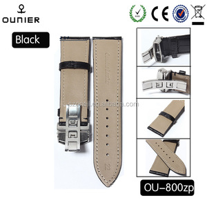 Butterfly buckle band real real leather bands for men quartz watches