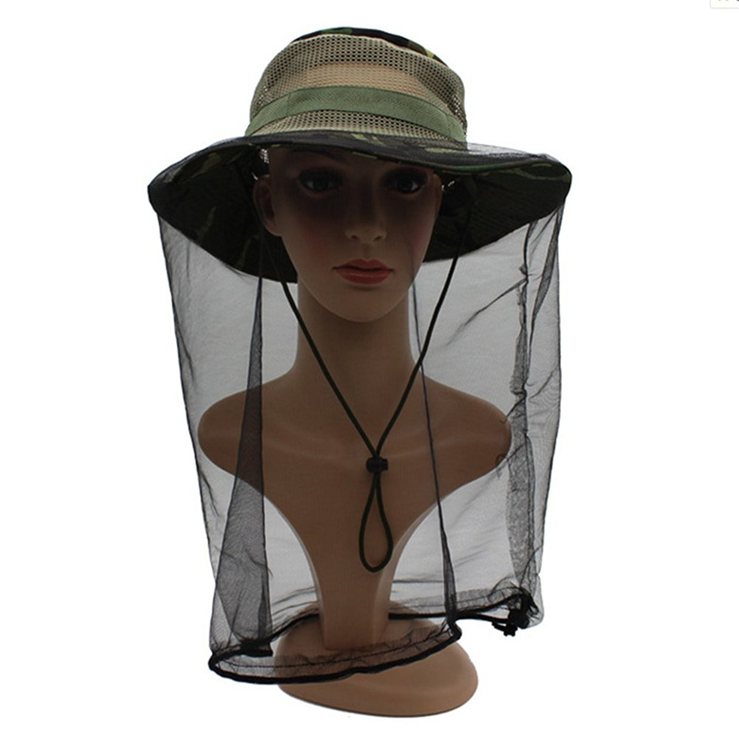 2db4a79137b Get Quotations · ZTMY Outdoor Anti-Mosquito Mask Hat with Head Net Mesh  Face UV Protection Sun Hat