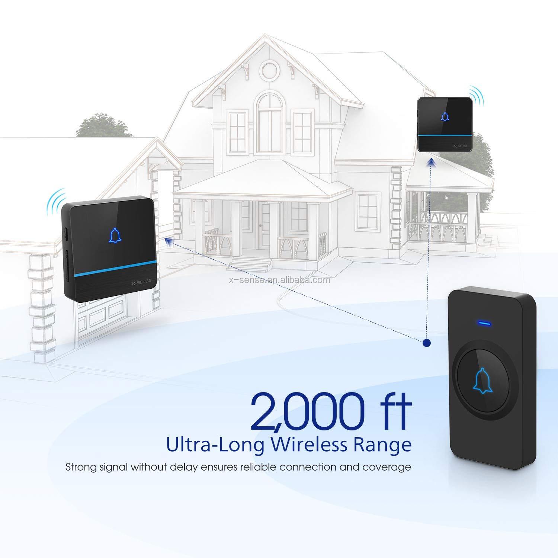 Operating at 2,000 Feet Ultra-Long Range X-Sense C2 Wireless Doorbell Chime Kit