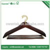 hotel wooden non slip hangers/ hotel hanger with locking bar