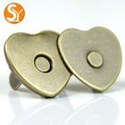 Eco-friendly antique copper heart shape metal magnetic snap buttons for bag