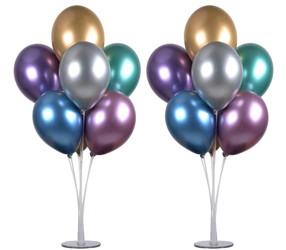 High quality!12inch metallic chrome round balloon and clear balloon stand to decorative weddings and banquet