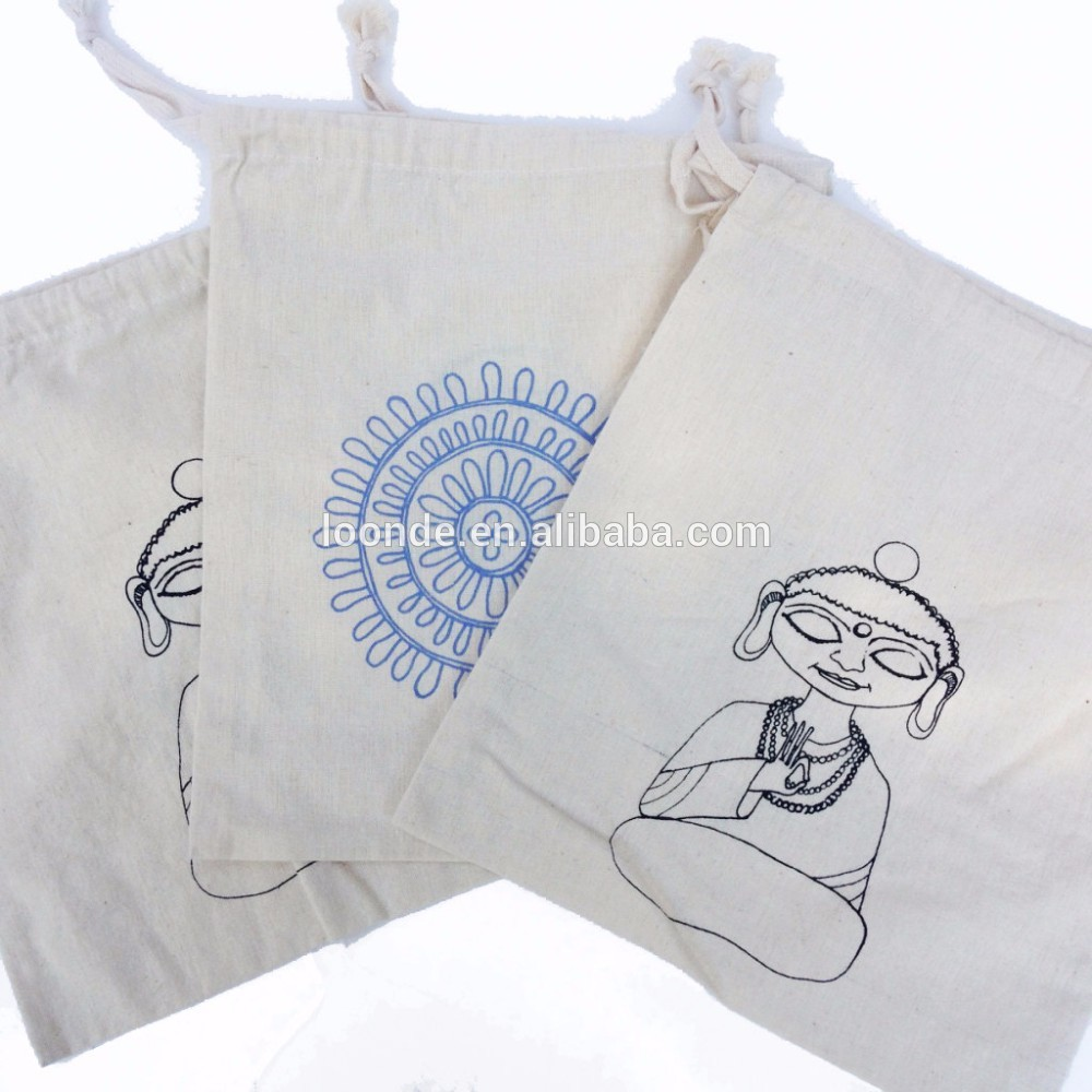 wholesale buddha unbleached cotton headset packing drawstring bag