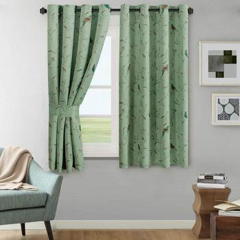 Window Treatment Thermal Insulated Grommet Blackout Curtains;Sage Birds Country Style Patter Darkening Drapes Blackout Curtains