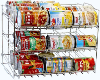 kitchen soup can food rack chrome holder storage cabinets pantry organizer