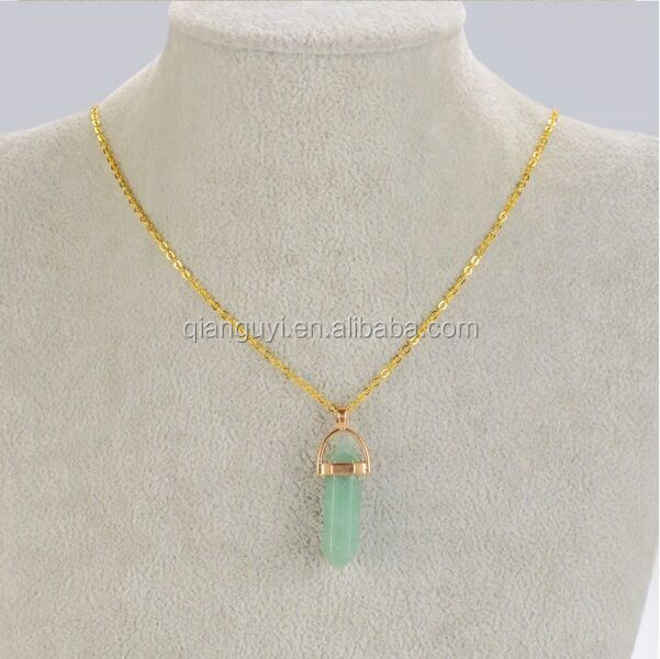 Bulk Wholesale Silver or Gold Wire Wrapped Green Jade Crystal Point Pendant