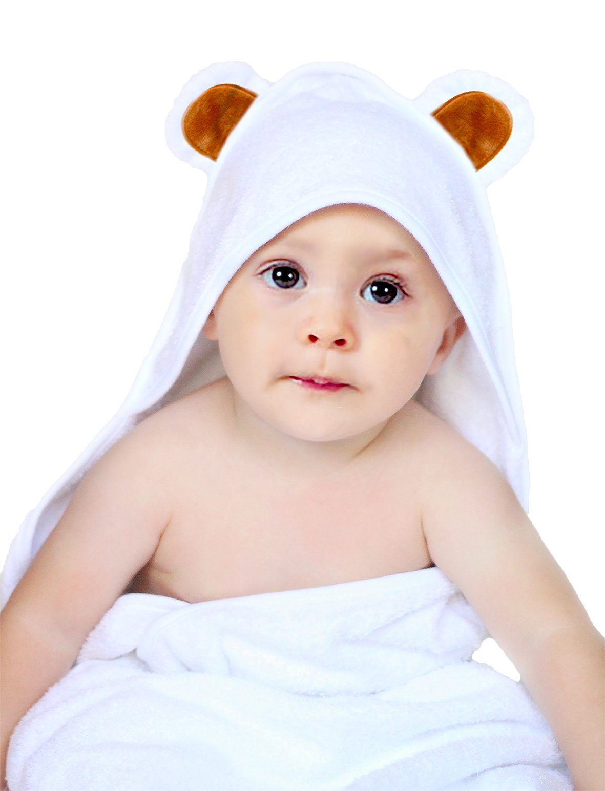 Premium Quality 100% Organic White Bamboo Baby Hooded Bath Towel By Lucid Top – Bathrobe With Hood For Babies & Infants – Non-toxic & Hypoallergenic – Bonus Set Of 2 Washcloths Included