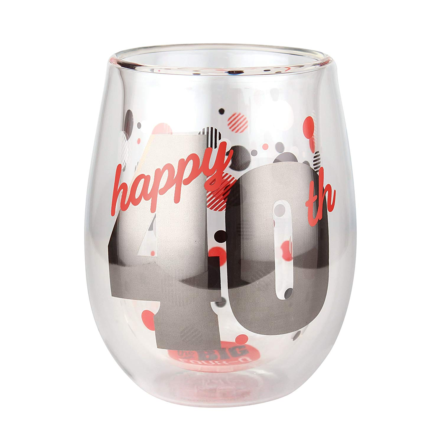 Top Shelf Double Wall Stemless 40th Birthday Wine Glass, Multicolor, Red or White Wine, Unique & Fun Gift Ideas for Him or Her, Memorable Gifts for Friends & Family