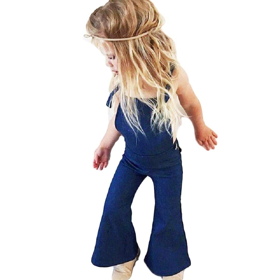 feb2a5659933 Get Quotations · CSSD Kids Baby Girls  Sleeveless   Denim Jumpsuit Romper    Backless