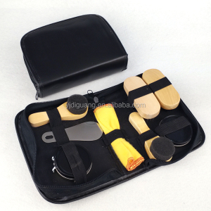 6 in 8 Travel Shoe Shine Kit with PU Leather Case Black Shoe Care Kit