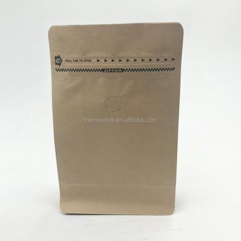 Plain Brown Kraft Paper Coffee Bags With Valve Aluminum Foil Laminated Bag Flat