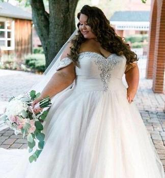 Crystals Embellishments Xl Xxl Xxxl Plus Size Women Bridal Party Wedding  Dress With Long Train For Sale , Buy Plus Size Wedding Dress With Long