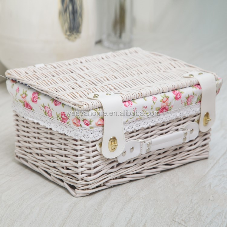 disposable empty wicker hamper baskets wholesale with fabric liner