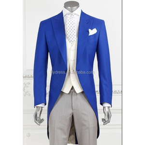 2018 New Men's suits Fashion Royal Blue Groom Long Tailcoat Tuxedo Best Man Wedding custom Suits Swallow long Tail
