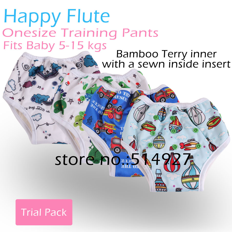 Happy Flute Pull up training pants onesize bamboo terry inner with a sewn in insert fits