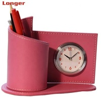 School table stationery office accessories custom faux leather pen holder with clock as promotional gift items