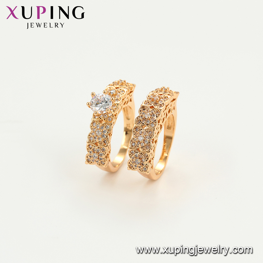 15746 Xuping wholesale high quality gold plated luxury design diamond wedding ring custom ring