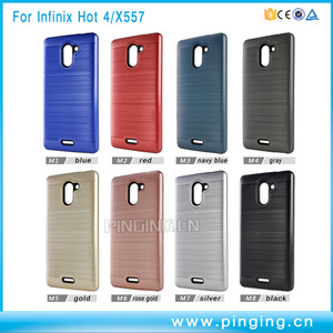 New product 2 in 1 pc + tpu hybrid brushed armor case for infinix hot 4 x557