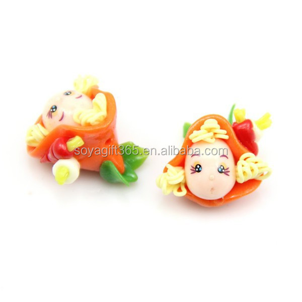 Orange Peaked Hat Cute Girl Doll Polymer Clay Micropore Bead For Jewelry Making