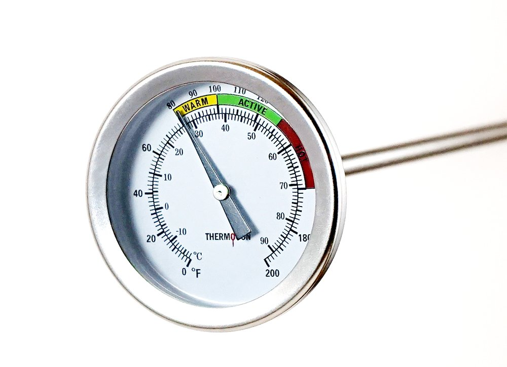 Compost Soil Thermometer - Thermogon Premium Stainless Steel Thermometer for Backyard Composting - 2 Inch Diameter Fahrenheit and Celsius Dual Dial, 20 Inch Temperature Probe