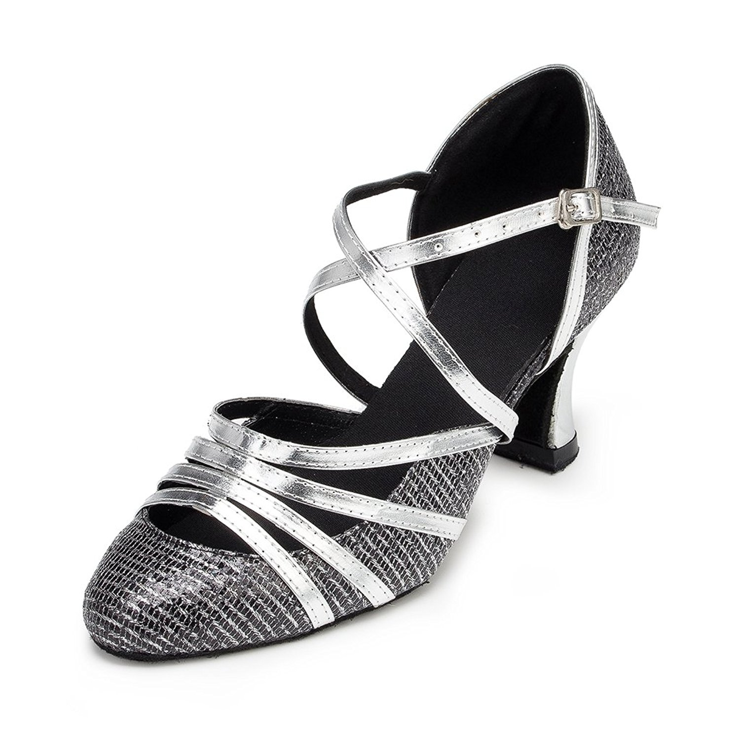 CRC Women's Stylish Round Toe Sparkle Material Synthetic Ballroom Morden Tango Party Wedding Professional Dance Shoes