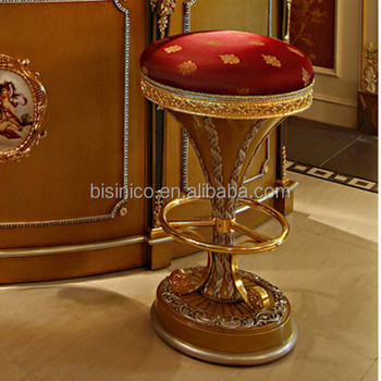 French Classic Style Latest Wood Carved Bar Stool/ Antique Golden Gided Bar  Stool/ Classic