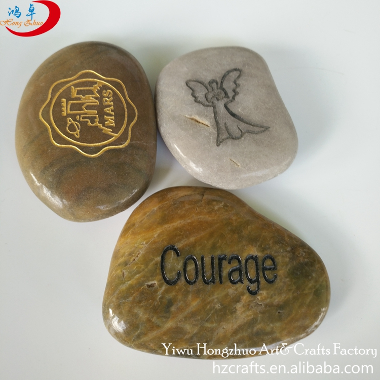 All size laser engraved pebbles river stone sharpening natural stone