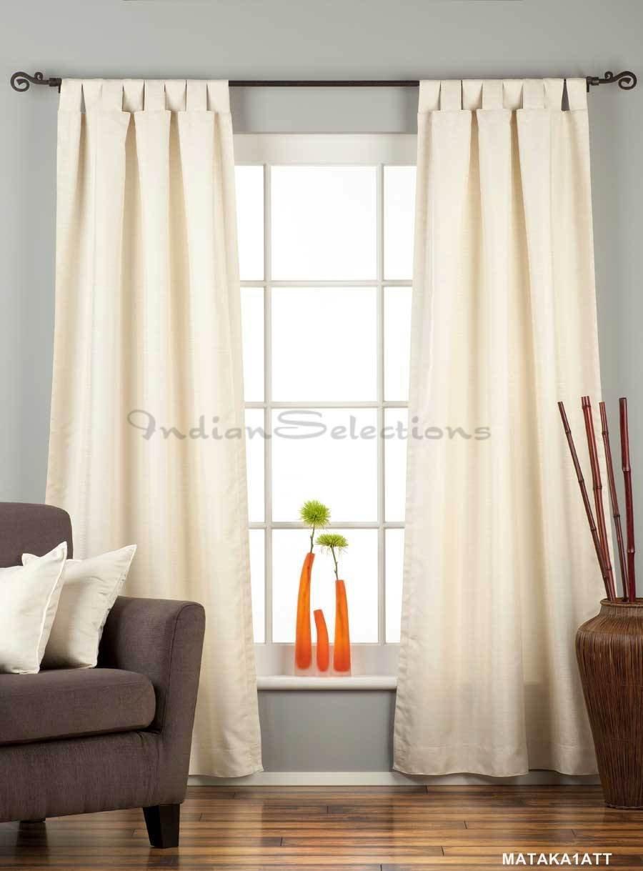 Cream Tab Top Matka Raw Silk Curtain / Drape - 43W x 96L - Piece