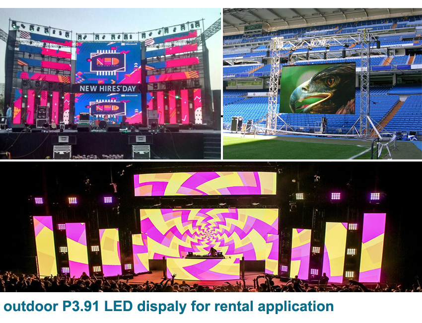 Outdoor rental use LED display video screen led Die casting aluminum cabinet 500x500mm p3.91