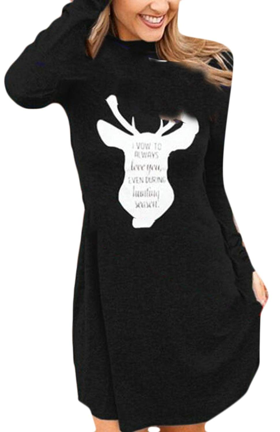 GenericWomen Generic Womens Casual Mock Neck Long Sleeve Christmas Elk Print Swing Dress