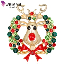 Jewelry 14k Gold Plated Multicolor Rhinestone Deer Christmas Brooch