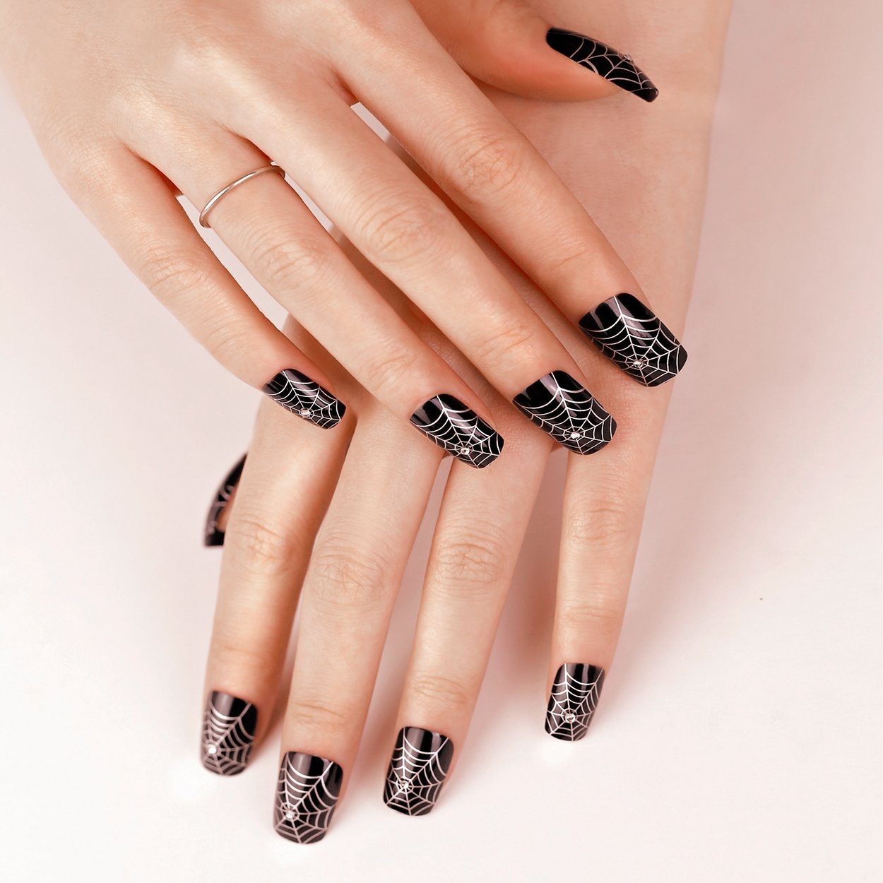 Art Plus 24pcs False Nails French Manicure Full Cover Gothic Black Silver With Crystals Long Length