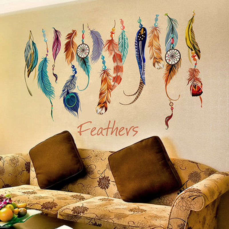 Classic Creative Dream Catcher Feather Wall Sticker Art Decal  Mural Lucky Bedroom Living Wallpaper Home Decoration Gifts Parede