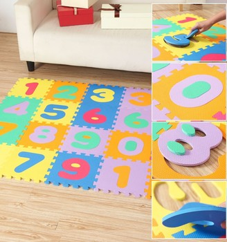 Eva Material Foam Mat Baby Jigsaw Puzzle Number Alphabet Mat Waterproof  Interlocking Floor Mat Non