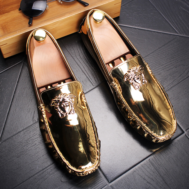 MS009 Luxury Brand Handmade Boat Shoes Men Casual Loafers Genuine Leather Flats Shoes Fashion Men Gold Silver Red
