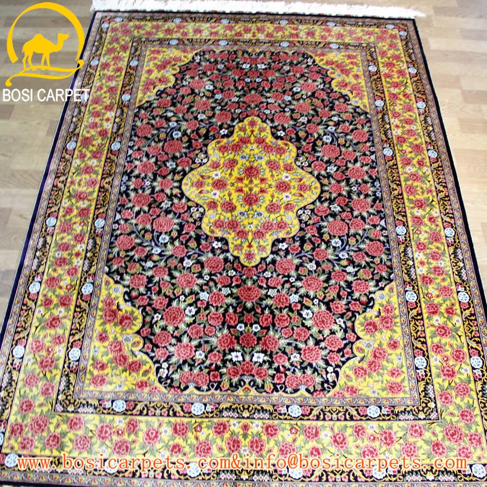 4.5x6.5ft coloré fleur forme indien tapis de prière en soie tapis